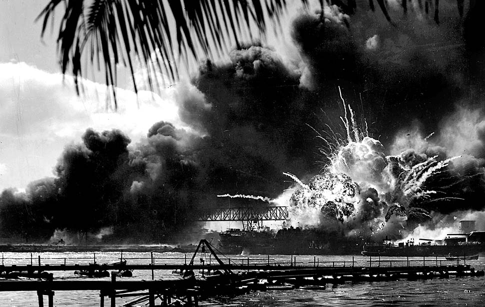 PEARL HARBOR,HAWAII: The USS Shaw exploded after being struck during the attack on Pearl Harbor December 7, 1941.
